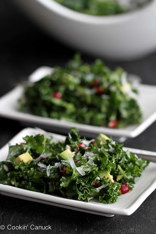Chopped Kale Salad Recipe with Pomegranate & Avocado by Cookin' Canuck
