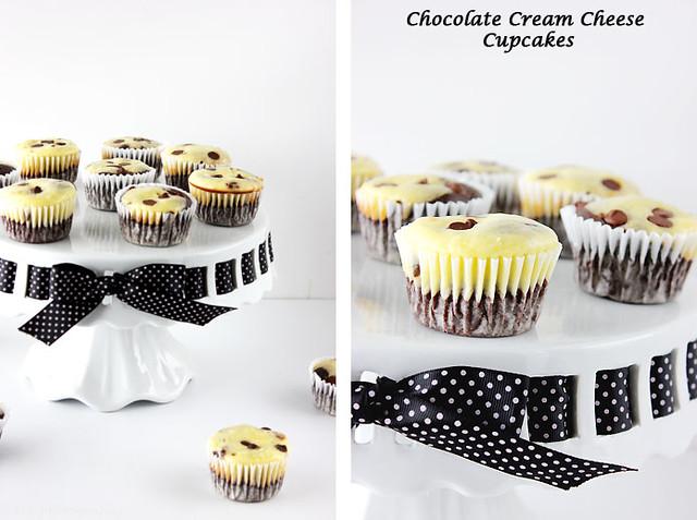 choc cream cheese cupcake collage