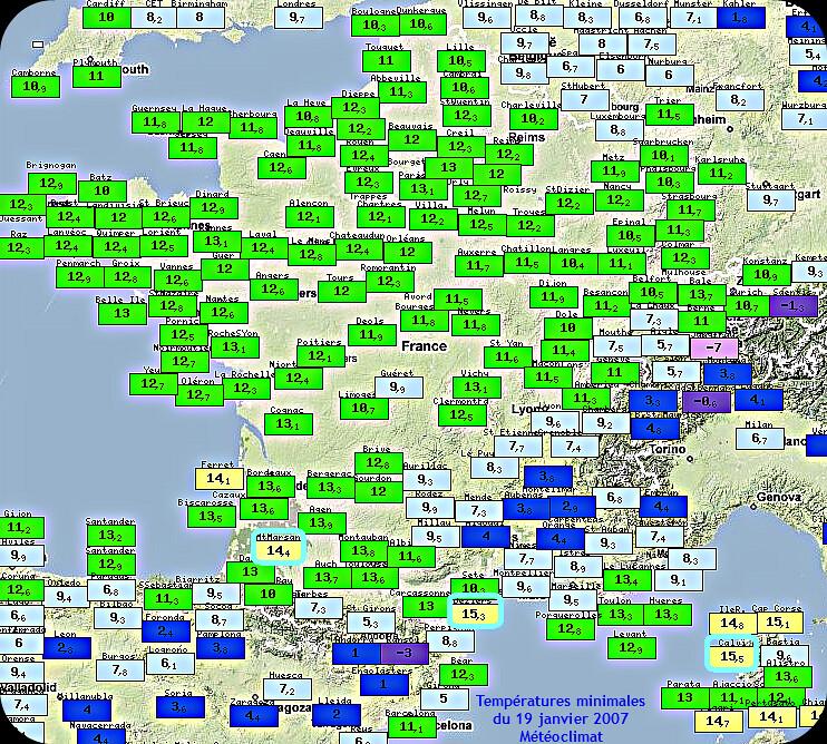 températures minimales et records mensuels de douceur nocturne le 19 janvier 2007 météopassion