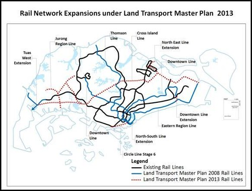 LTA: Rail Network Expansions, announced 17 Jan 2013
