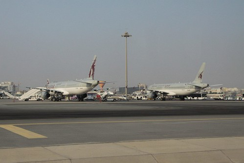 Qatar Airways A321 rego A7-AID and A320 rego A7-ADI on the eastern apron at Doha