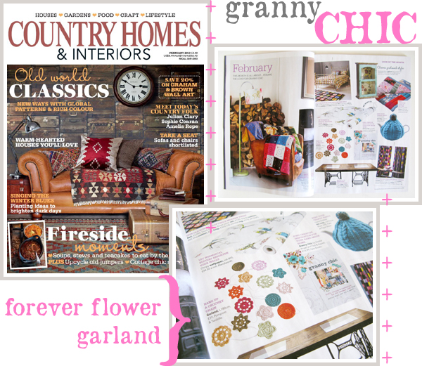 A Forever Flower Garland, via Pompom & Twiddle, highlighted in a Granny Chic feature in Country Homes & Interiors, February 2013
