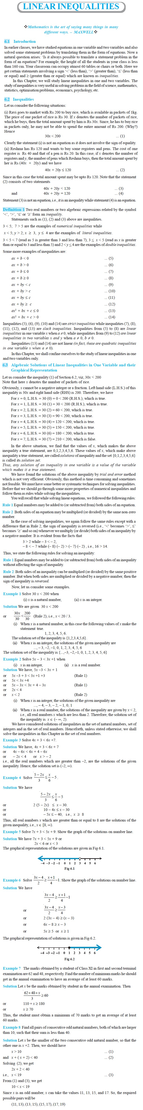 NCERT Class XI Mathematics Chapter 6 – Linear Inequalities