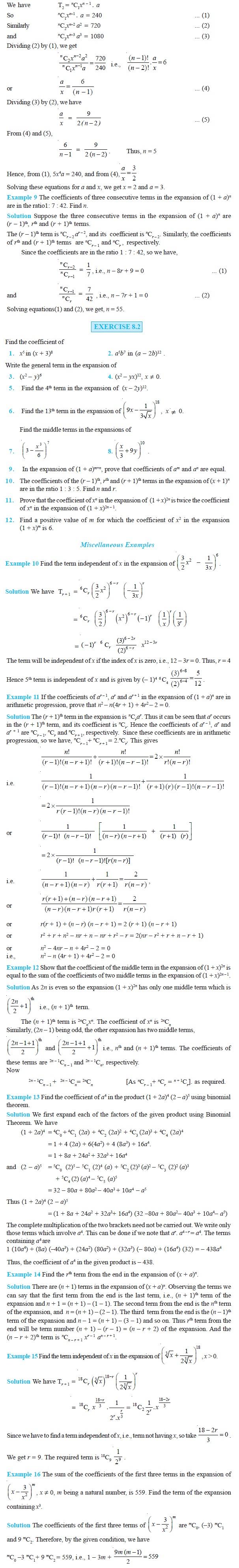 NCERT Class XI Mathematics Chapter 8 – Binomial Theorem