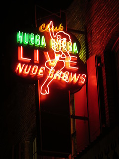 Hubba Hubba Live Nude Shows neon sign, Chinatown
