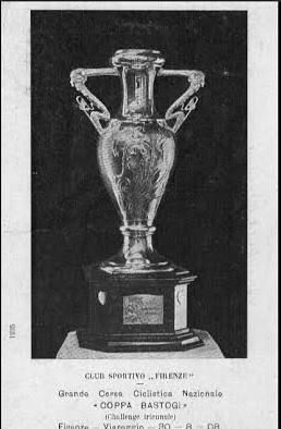 Cartolina che ritrae la Coppa Bastogi nella prima edizione del 1908