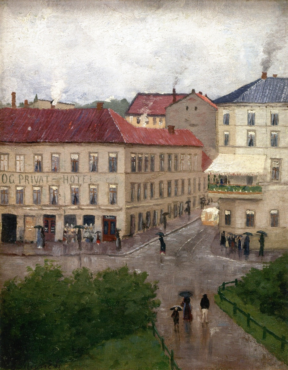 Street Corner on Karl Johan, Grand Cafe by Edvard Munch - 1883