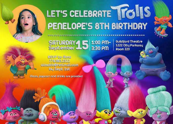 Trolls Movie Birthday Invitation