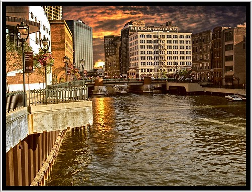 street sunset clouds buildings river flickr walk tourist milwaukee lamps wi attraction preservation ghostsign distict nrhp westown nelsonbrothers onasill