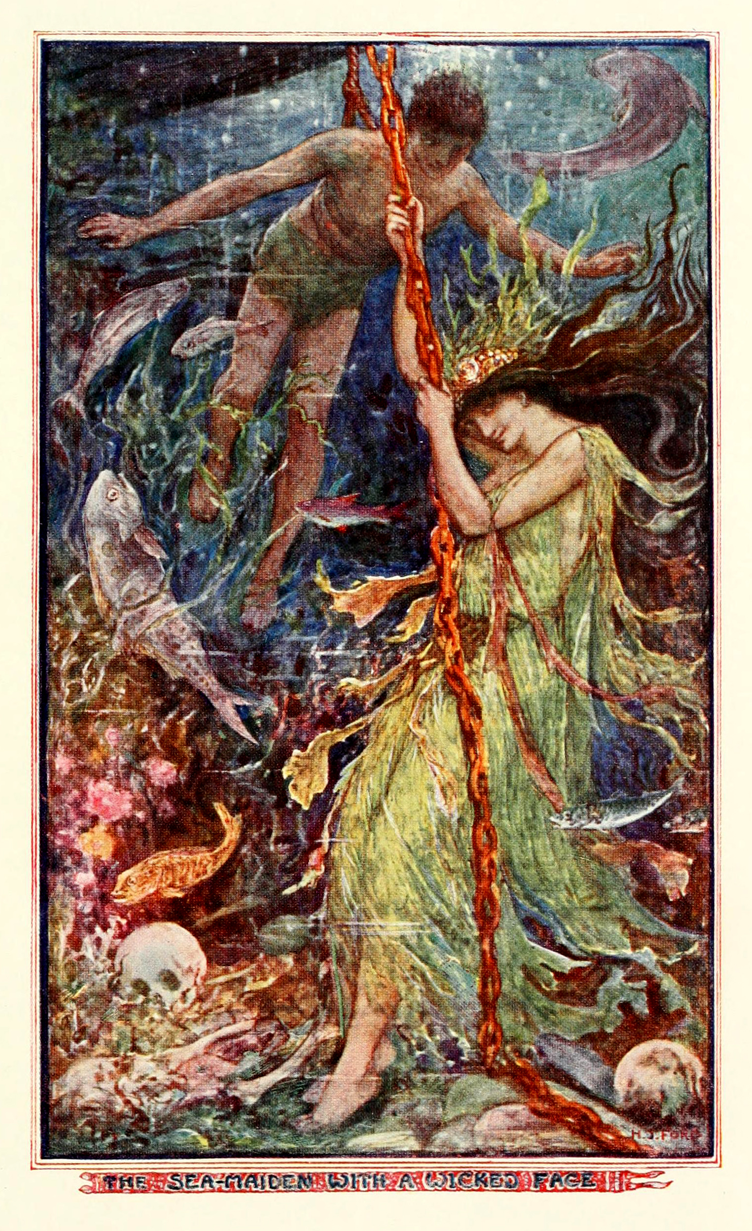 Henry Justice Ford - The olive fairy book, edited by Andrew Lang, 1968 (color plate 2)