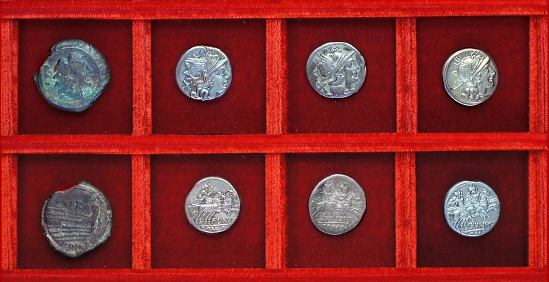 RRC 206 SAFRA quadrans, RRC 207 FLAVS Decimia, RRC 209 L.ITI Itia, RRC 210 C.IVNI C.F. Junia denarii Ahala collection, coins of the Roman Republic