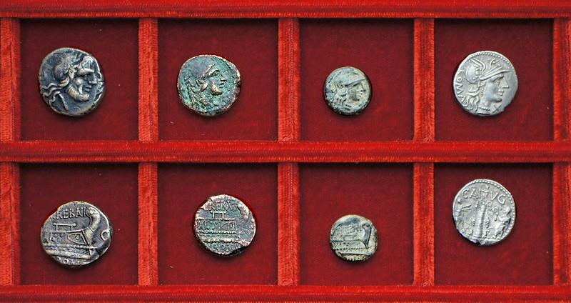 RRC 241 L.TREBANI Trebania bronzes, RRC 242 C.AVG Minucia column denarius, Ahala collection, coins of the Roman Republic