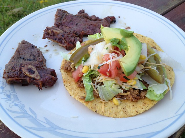 Beef tostada and grilled short ribs