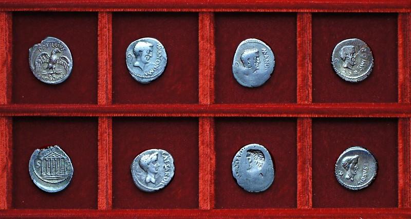RRC 487 PETTILIVS Petillia, RRC 488 M.ANTON IMP C.CAESAR DIC Mark Antony, Julius Caesar, Ahala collection Roman Republic