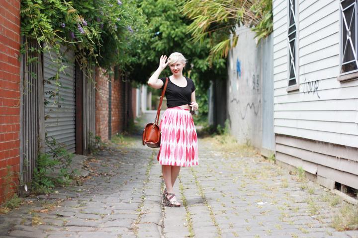 pink skirt jacaranda laneway c