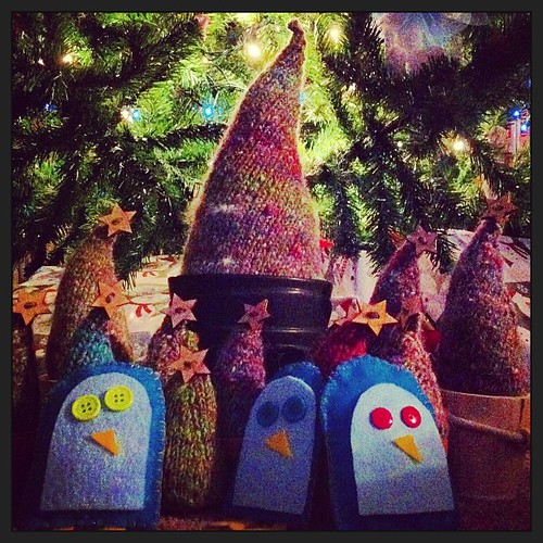 And the penguins keep watch over the miniature tree farm by night...