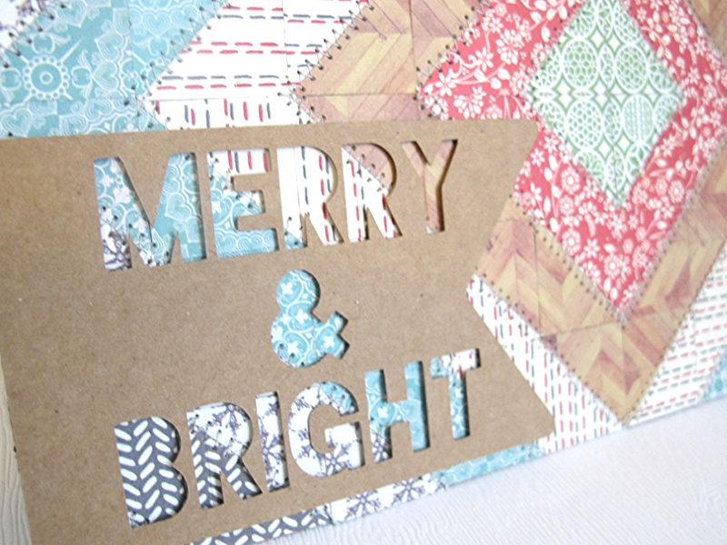 merry and bright quilted card close up