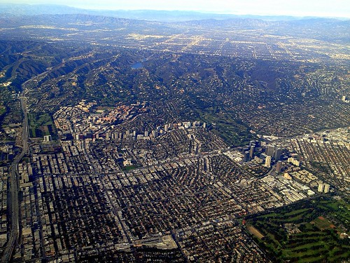 Aerial Photography:  Descent Into LAX Over West Los Angeles/Century City/UCLA