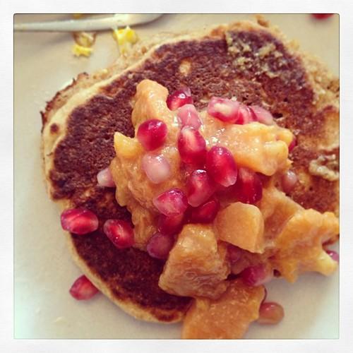 Persimmon ginger pomegranate sage pancake topping. #randomcreation