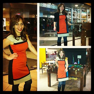 #Dressember | Day 15 #dressember2012 #dress #squares #colors #orange #yellow #green #black