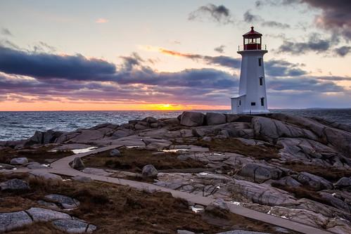 ocean sunset lighthouse tourism rocks novascotia path atlantic granite peggyscove 6156blended