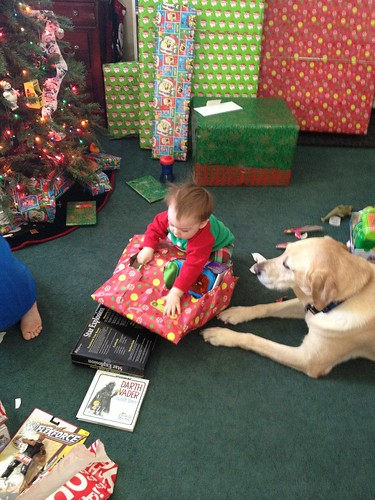 Maddux doesn't need help opening presents