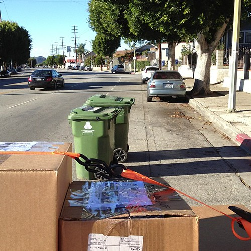 Trash cans in bike lane, always! #notcool #bikela @lamayorsoffice @ericgarcetti