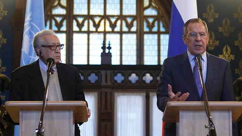 United Nations and Arab League envoy for Syria, Lakhdar Brahimi with Russian Foreign Minister Sergey V. Lavrov discussing the political crisis in the Middle Eastern state. by Pan-African News Wire File Photos
