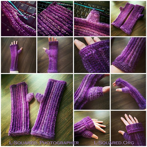 Fingerless mittens with a ribbed/striped stitch pattern crocheted with yarn that has various shades of purple - some photos show the mitts in progress, completed and laying flat on a dark wooden surface, and being modeled on my hands.