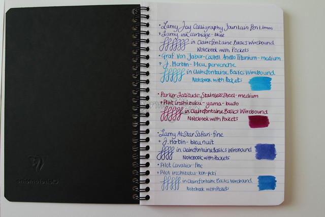 Clairefontaine Basics Wirebound Notebook + Pockets - Medium, Black Writing Sample