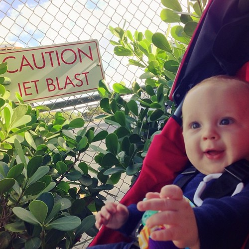 Baby Will, like my iPhone's focus, was caught off guard by a jet blast.