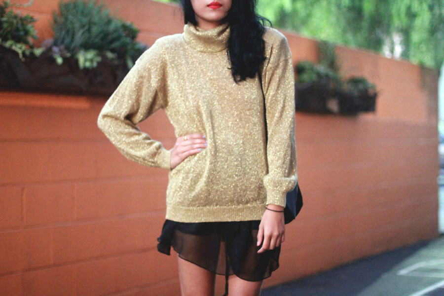 Metallic Gold Lurex Turtleneck & velvet envelope clutch from Tarte Vintage at shoptarte.com, sheer dancewear skirt, Lulu's Mary Jane heels
