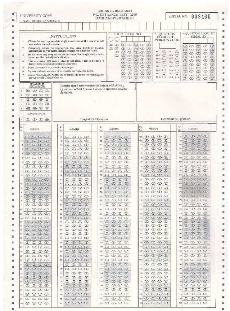 RGUHS PGET 2013 Specimen Copy of OMR Answer Sheet