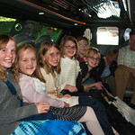 Abbie and her friends in the limo