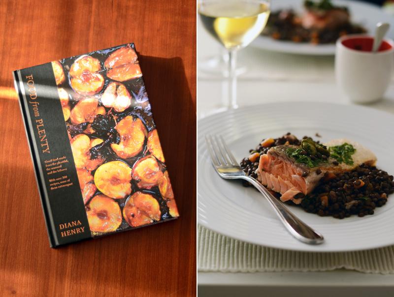 Lentilhas e salmão com alcaparras