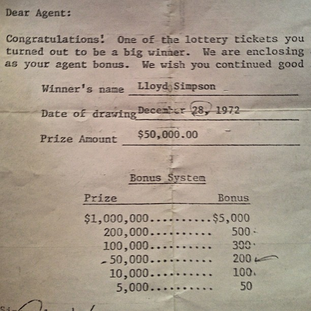 Dads #lottery letter from 1972 #detroit