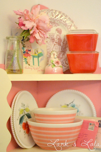 Rainbow stripe Pyrex in Valentine's display