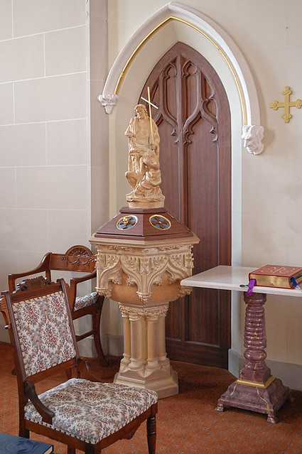 Old Saint Vincent Catholic Church, in Cape Girardeau, Missouri, USA - baptismal font