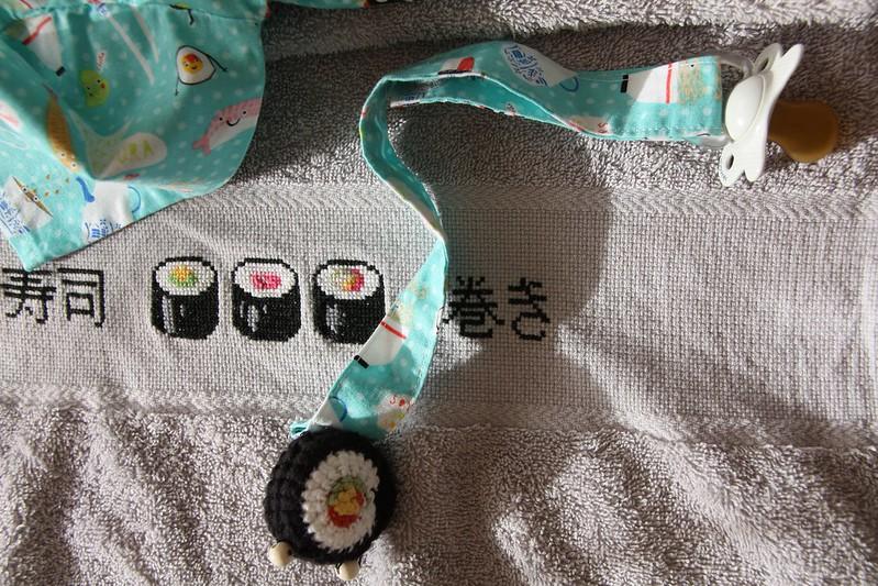 cinta portachupetes sushi