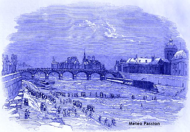 illustration de la Seine gelée et des journées glaciales à Paris les 18, 19 et 20 janvier 1838 météopassion