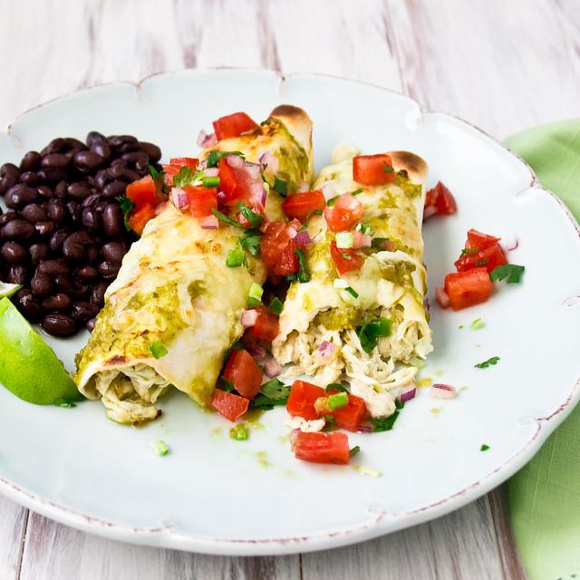 Crockpot Salsa Verde Chicken Enchilada Recipe