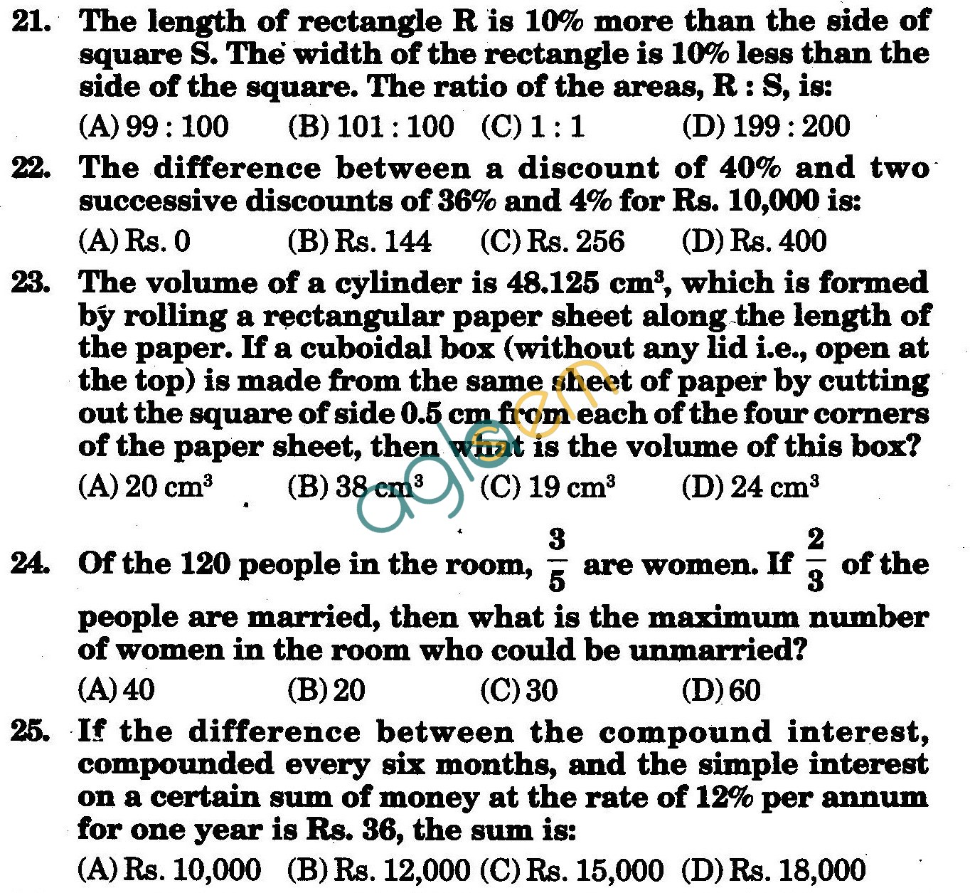 NSTSE 2010: Class VIII Question Paper with Answers - Mathematics