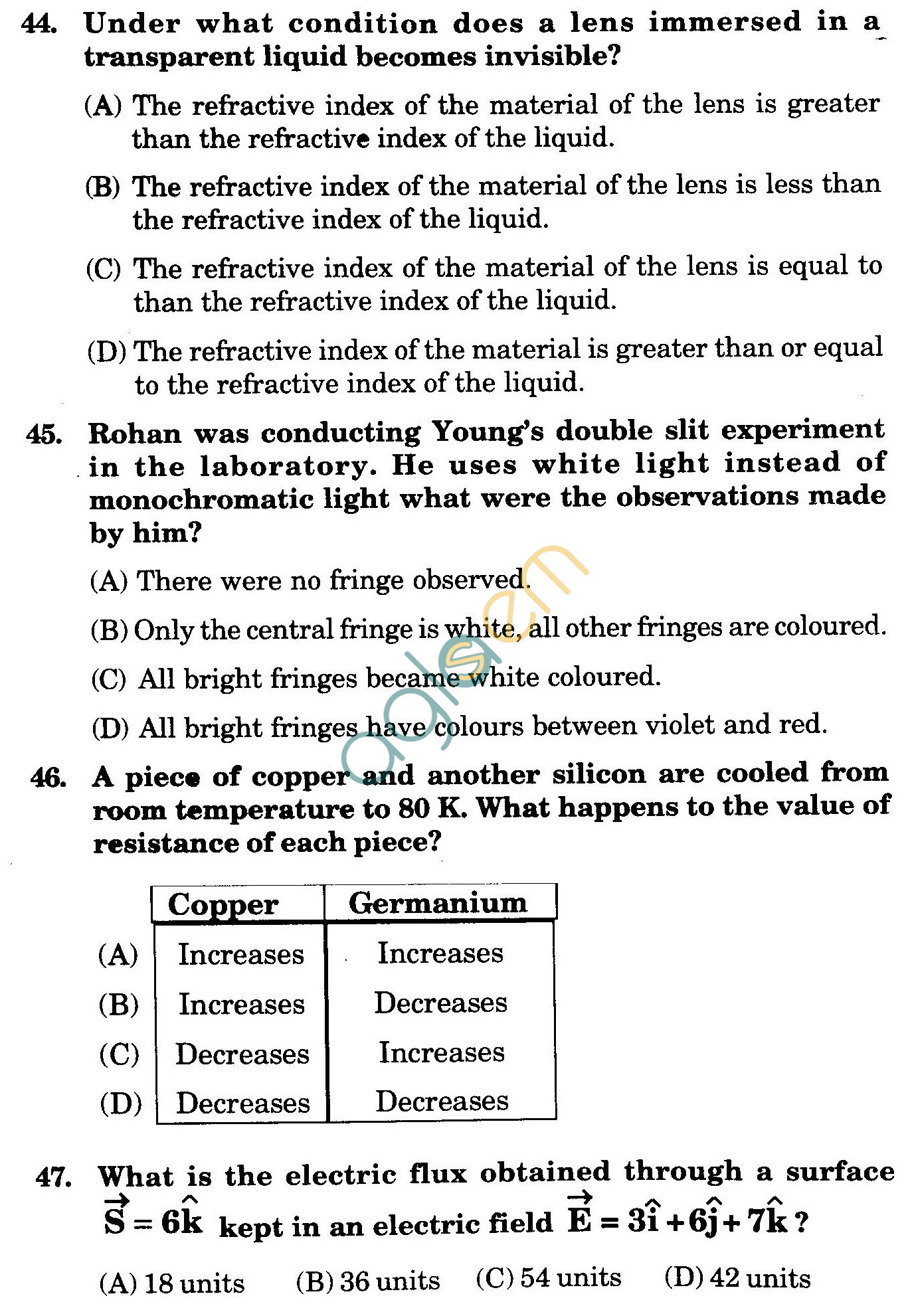 NSTSE 2010 Class XII PCB Question Paper with Answers - Physics