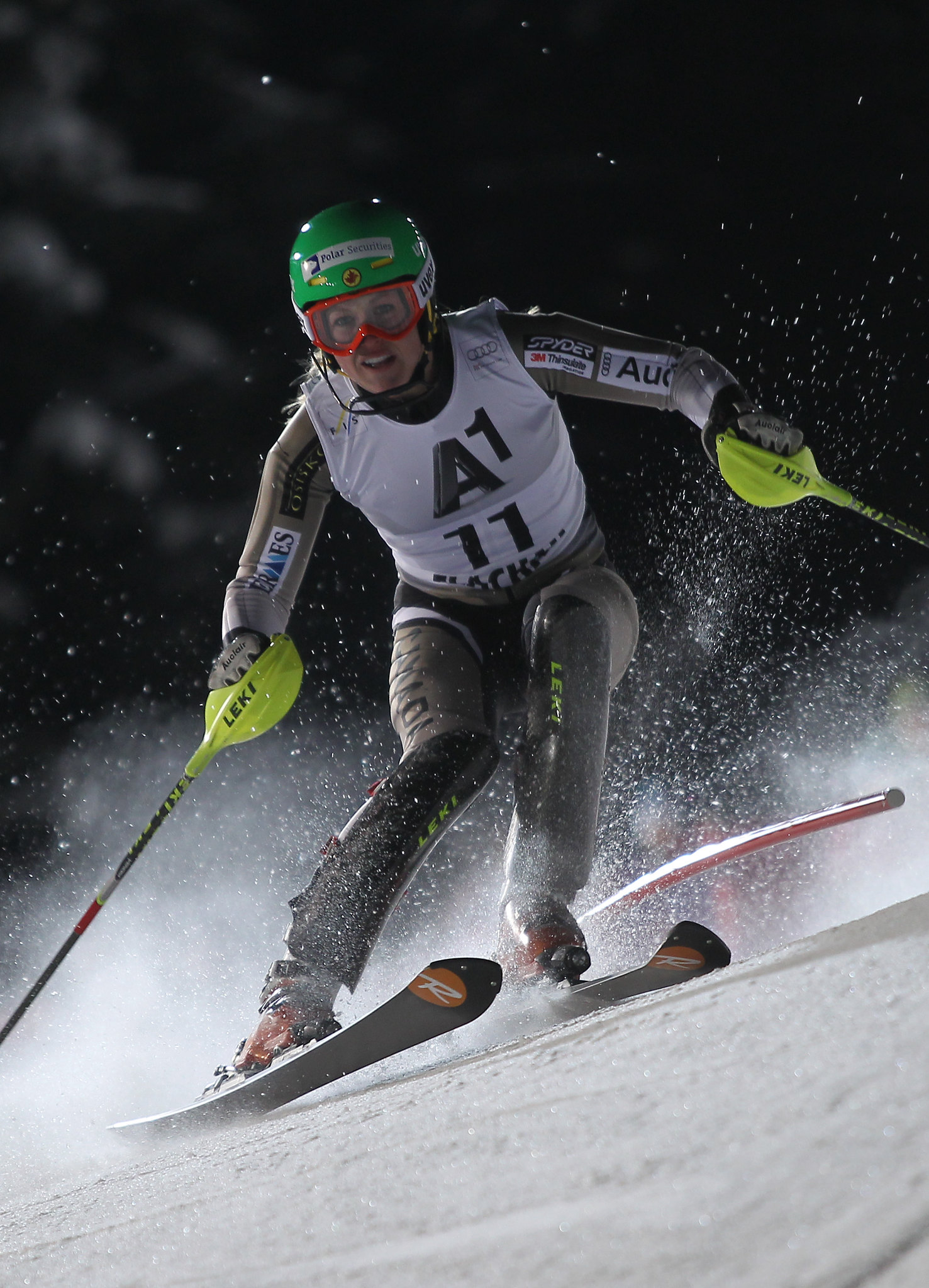 Erin Mielzynski races to a 10th-place finish in the World Cup slalom in Flachau, Austria.