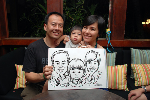 caricature live sketching for Mark Lee's daughter birthday party - 24