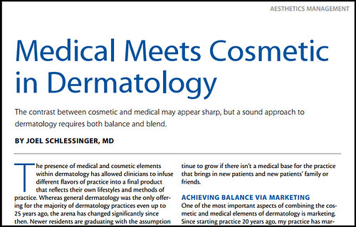 Joel Schlessinger MD discusses the link between medical and cosmetic in dermatology