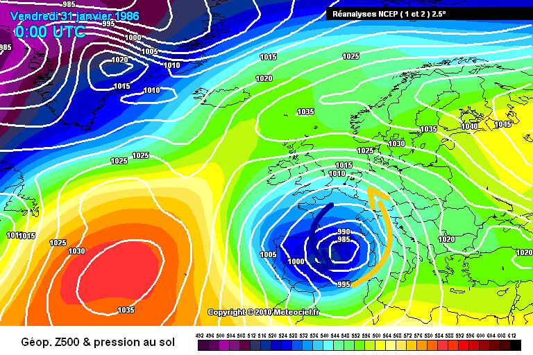 carte de situation lors de l'épisode neigeux des 30 et 31 janvier 1986 météopassion