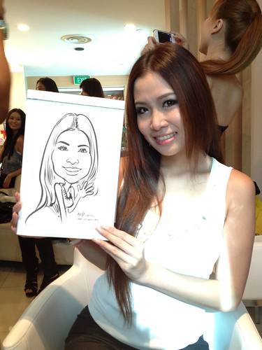 caricature live sketching for Orchard Scotts Dental for Miss Universe Singapore - 5