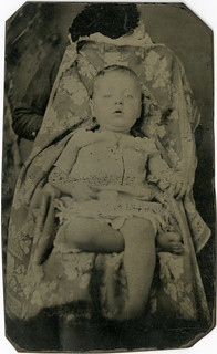 Barefoot Baby with Hidden Mother Tintype