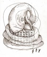 美麗灣沒禮貌 山海蟒蛇的怨念會吞掉他! 繪圖by巫尚碧海